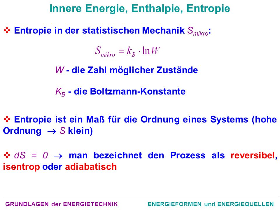 GRUNDLAGEN der ENERGIETECHNIKENERGIEFORMEN und ENERGIEQUELLEN Innere Energie, Enthalpie, Entropie Entropie in der statistischen Mechanik S mikro : W -