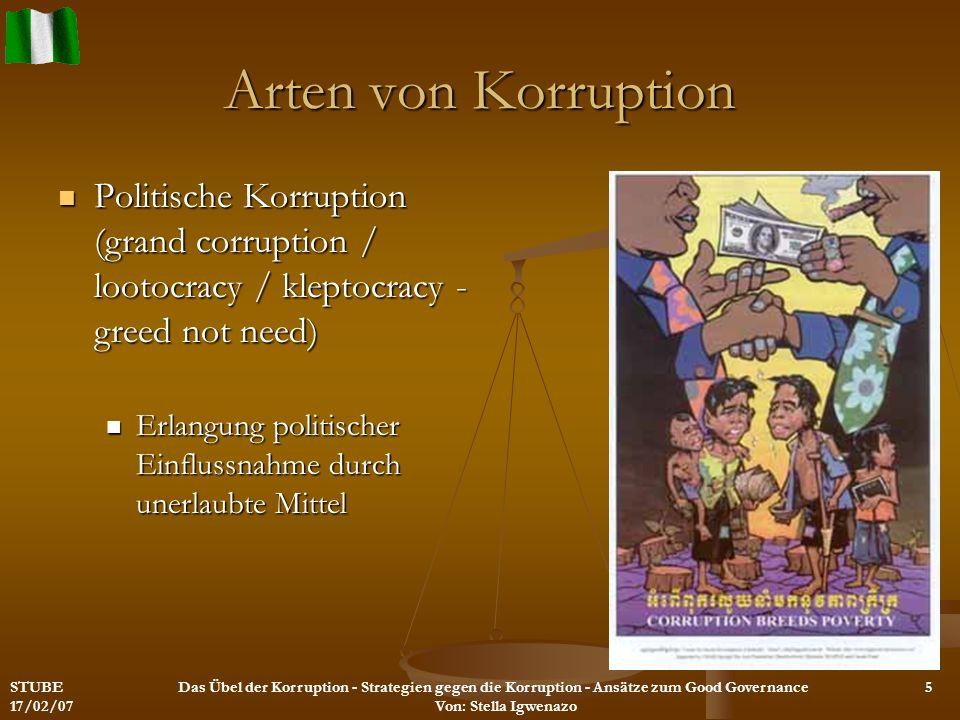 Arten von Korruption Politische Korruption (grand corruption / lootocracy / kleptocracy - greed not need) Politische Korruption (grand corruption / lo
