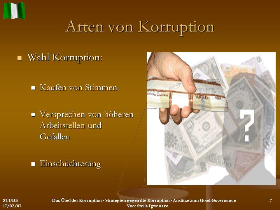 Arten von Korruption Veruntreuung/Unterschlagung und Bestechung Veruntreuung/Unterschlagung und Bestechung Landreformen Landreformen Privatisierung von Staatsbetrieben Privatisierung von Staatsbetrieben Import- und Exportlizenzen Import- und Exportlizenzen öffentlichen Ausschreibungen öffentlichen Ausschreibungen STUBE 17/02/07 Das Übel der Korruption - Strategien gegen die Korruption - Ansätze zum Good Governance Von: Stella Igwenazo 8