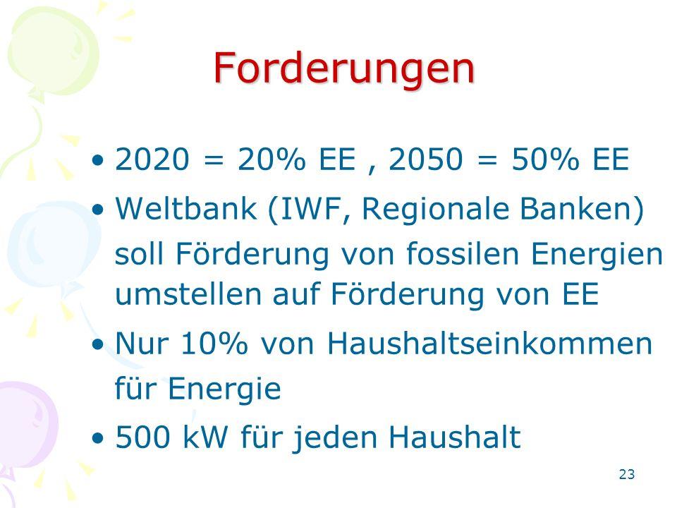 23 Forderungen 2020 = 20% EE, 2050 = 50% EE Weltbank (IWF, Regionale Banken) soll Förderung von fossilen Energien umstellen auf Förderung von EE Nur 1