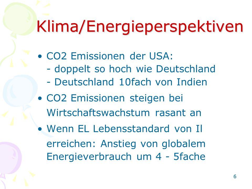 6Klima/Energieperspektiven CO2 Emissionen der USA: - doppelt so hoch wie Deutschland - Deutschland 10fach von Indien CO2 Emissionen steigen bei Wirtsc