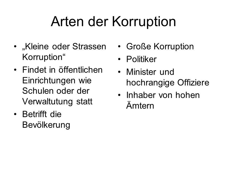 Arten der Korruption Kleine oder Strassen Korruption Findet in öffentlichen Einrichtungen wie Schulen oder der Verwaltutung statt Betrifft die Bevölkerung Große Korruption Politiker Minister und hochrangige Offiziere Inhaber von hohen Ämtern