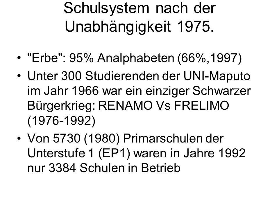 Schulsystem nach der Unabhängigkeit 1975.