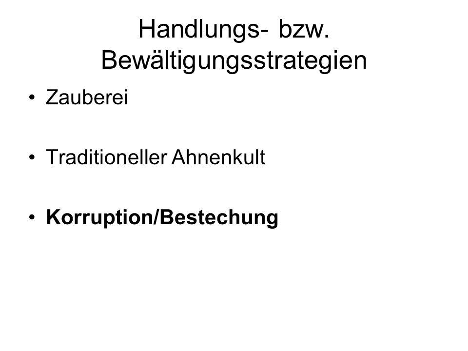 Handlungs- bzw. Bewältigungsstrategien Zauberei Traditioneller Ahnenkult Korruption/Bestechung