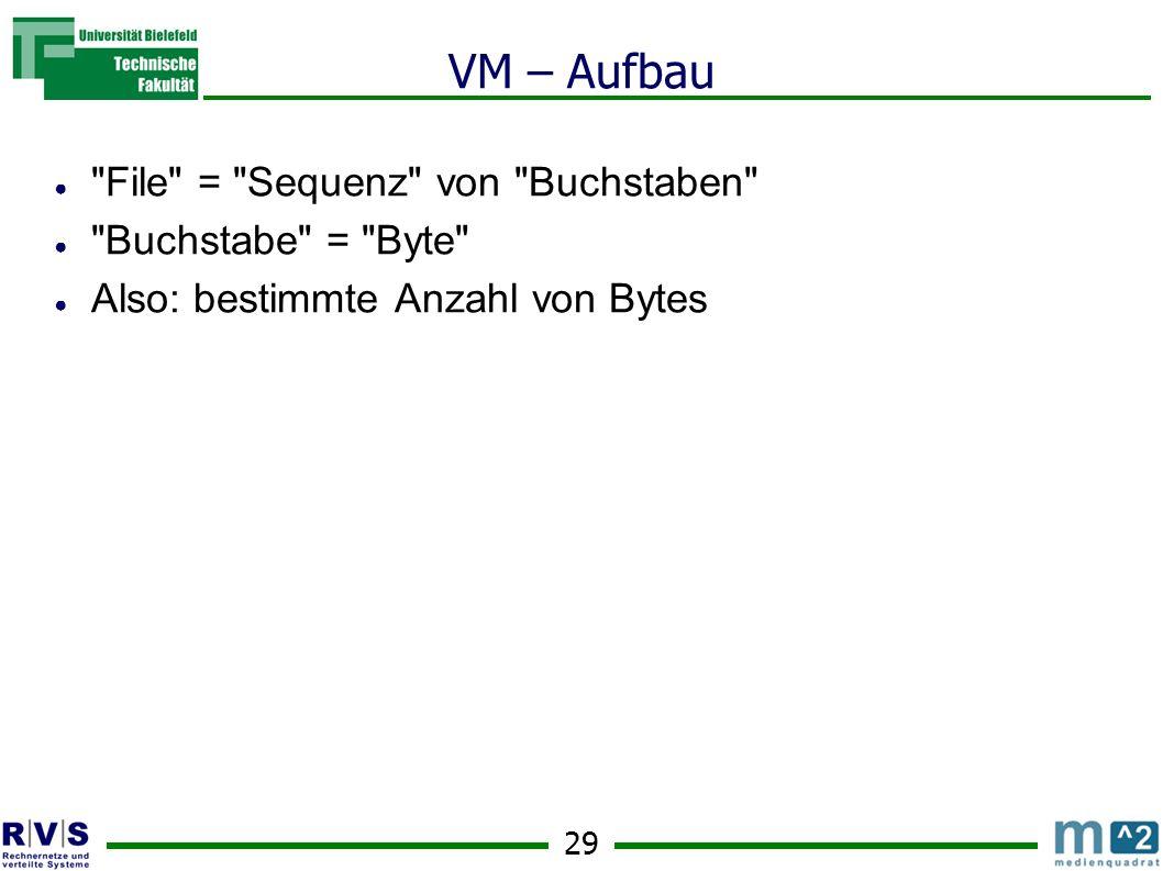 29 VM – Aufbau File = Sequenz von Buchstaben Buchstabe = Byte Also: bestimmte Anzahl von Bytes