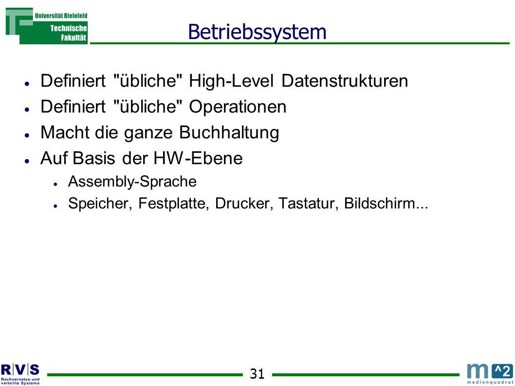 31 Betriebssystem Definiert übliche High-Level Datenstrukturen Definiert übliche Operationen Macht die ganze Buchhaltung Auf Basis der HW-Ebene Assembly-Sprache Speicher, Festplatte, Drucker, Tastatur, Bildschirm...