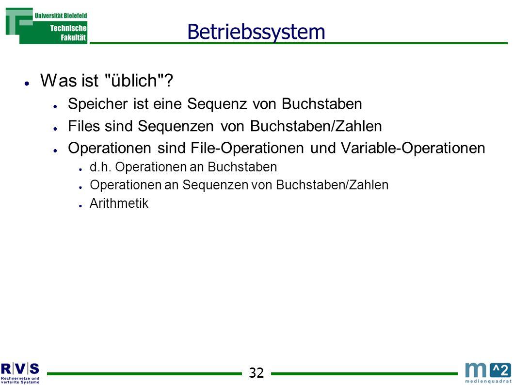 32 Betriebssystem Was ist üblich .