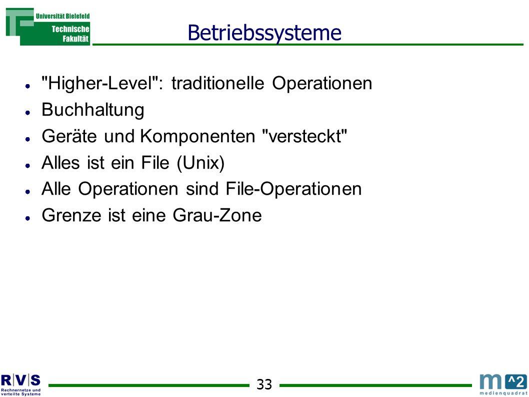 33 Betriebssysteme Higher-Level : traditionelle Operationen Buchhaltung Geräte und Komponenten versteckt Alles ist ein File (Unix) Alle Operationen sind File-Operationen Grenze ist eine Grau-Zone