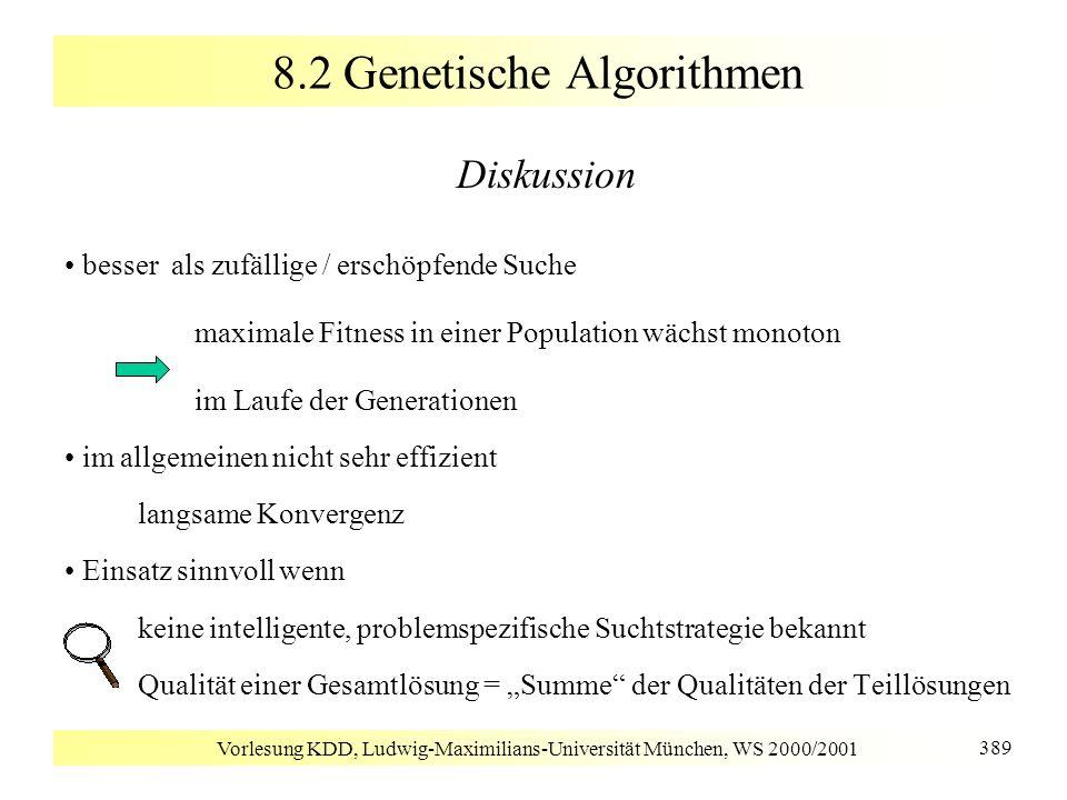 Vorlesung KDD, Ludwig-Maximilians-Universität München, WS 2000/2001 389 8.2 Genetische Algorithmen Diskussion besser als zufällige / erschöpfende Such