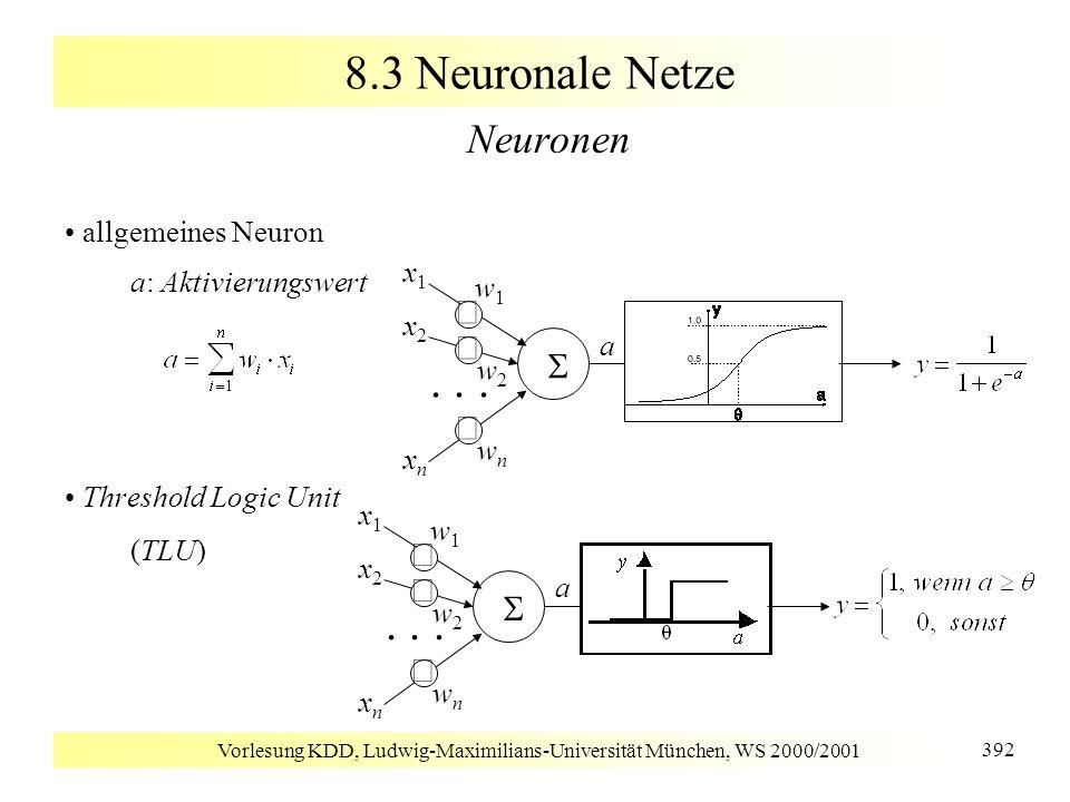 Vorlesung KDD, Ludwig-Maximilians-Universität München, WS 2000/2001 392 8.3 Neuronale Netze Neuronen allgemeines Neuron a: Aktivierungswert Threshold