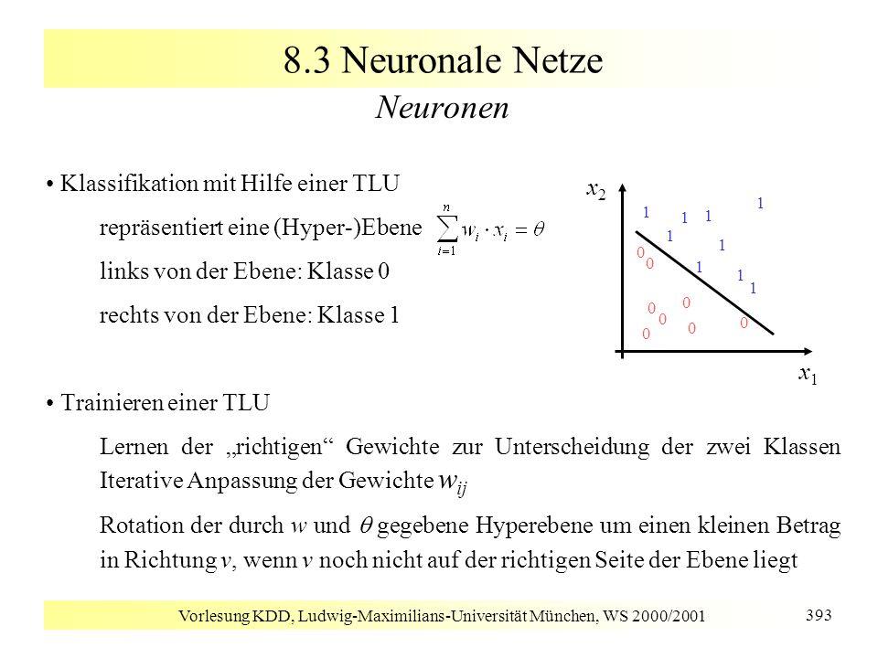 Vorlesung KDD, Ludwig-Maximilians-Universität München, WS 2000/2001 393 8.3 Neuronale Netze Neuronen Klassifikation mit Hilfe einer TLU repräsentiert