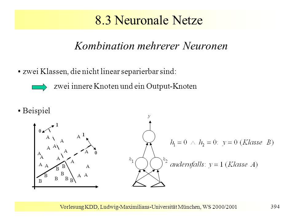 Vorlesung KDD, Ludwig-Maximilians-Universität München, WS 2000/2001 394 8.3 Neuronale Netze Kombination mehrerer Neuronen zwei Klassen, die nicht line
