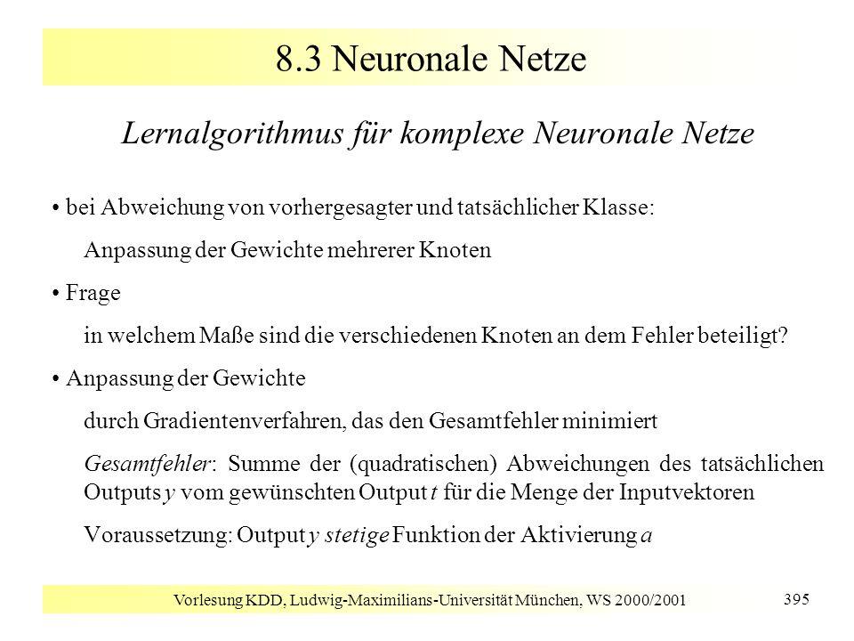 Vorlesung KDD, Ludwig-Maximilians-Universität München, WS 2000/2001 395 8.3 Neuronale Netze Lernalgorithmus für komplexe Neuronale Netze bei Abweichun