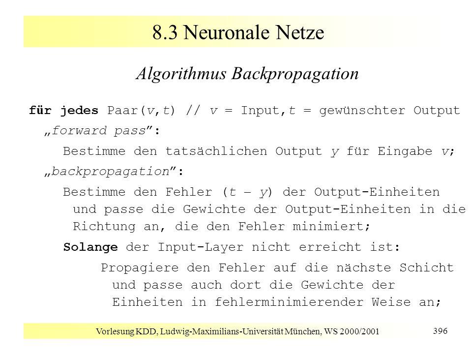 Vorlesung KDD, Ludwig-Maximilians-Universität München, WS 2000/2001 396 8.3 Neuronale Netze Algorithmus Backpropagation f ü r jedes Paar(v,t) // v = I