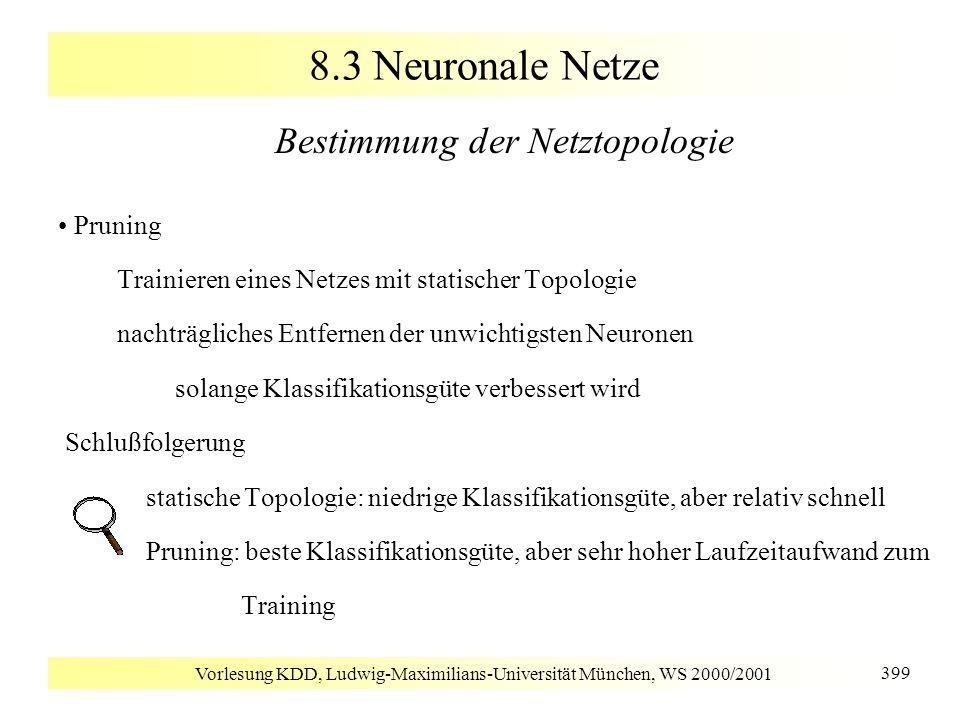 Vorlesung KDD, Ludwig-Maximilians-Universität München, WS 2000/2001 399 8.3 Neuronale Netze Bestimmung der Netztopologie Pruning Trainieren eines Netz