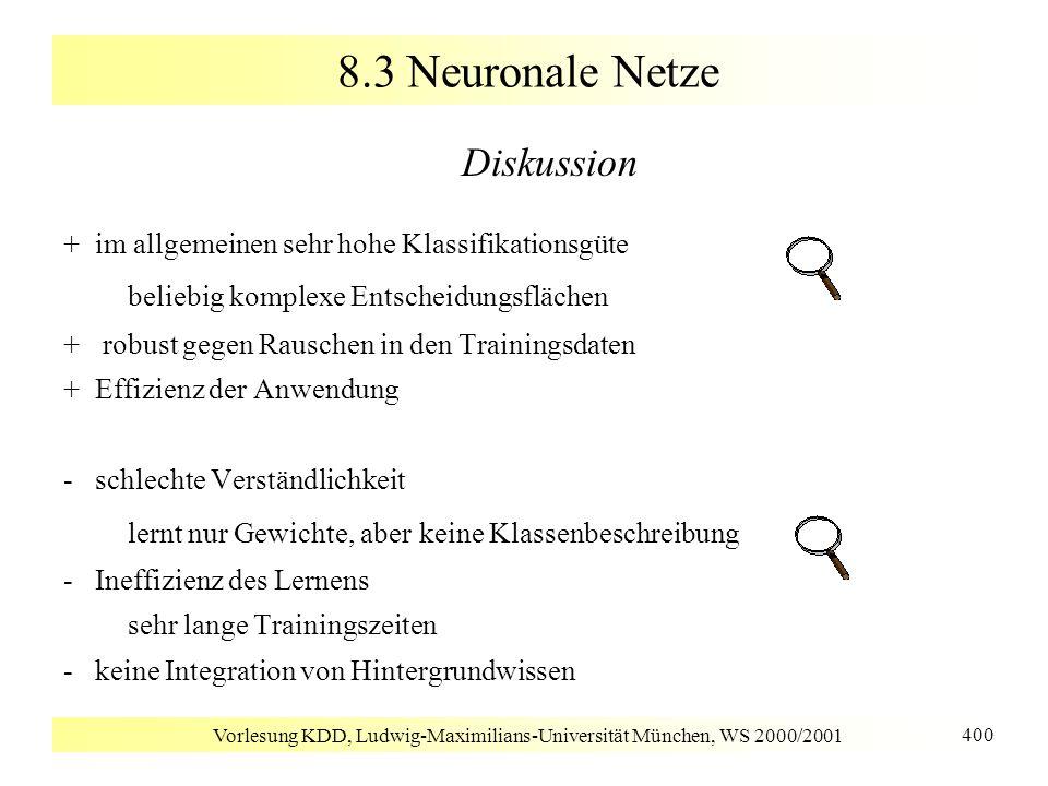 Vorlesung KDD, Ludwig-Maximilians-Universität München, WS 2000/2001 400 8.3 Neuronale Netze Diskussion + im allgemeinen sehr hohe Klassifikationsgüte