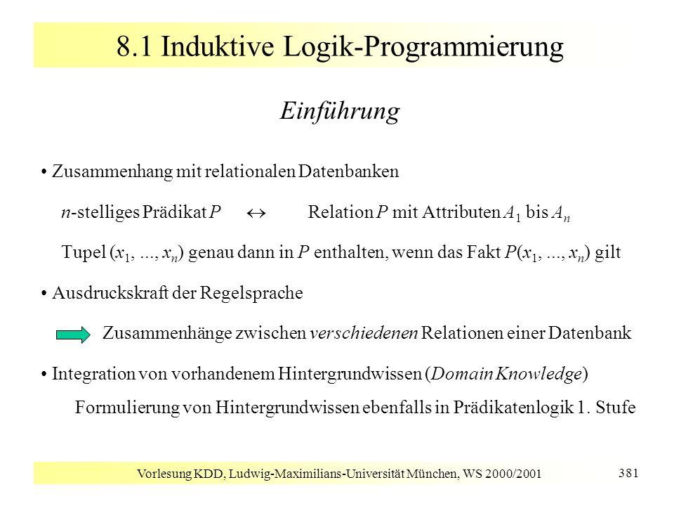 Vorlesung KDD, Ludwig-Maximilians-Universität München, WS 2000/2001 381 8.1 Induktive Logik-Programmierung Einführung Zusammenhang mit relationalen Da