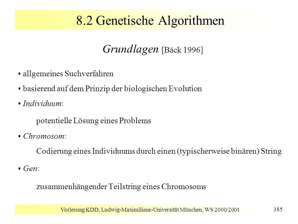Vorlesung KDD, Ludwig-Maximilians-Universität München, WS 2000/2001 385 8.2 Genetische Algorithmen Grundlagen [Bäck 1996] allgemeines Suchverfahren ba