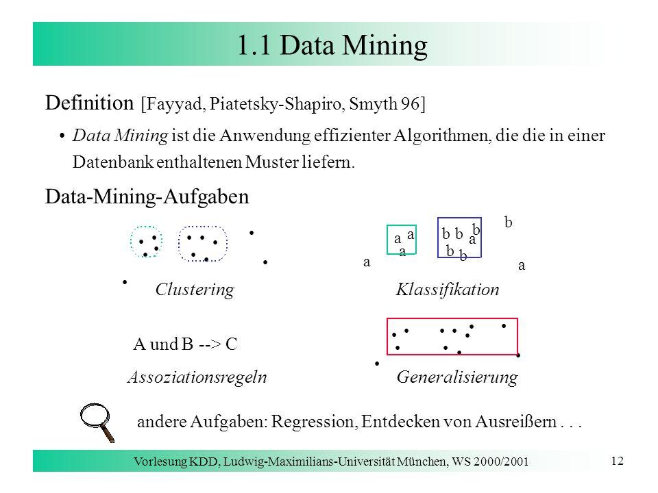 Vorlesung KDD, Ludwig-Maximilians-Universität München, WS 2000/2001 12 1.1 Data Mining Definition [Fayyad, Piatetsky-Shapiro, Smyth 96] Data Mining is