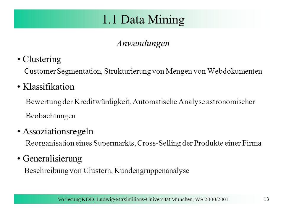 Vorlesung KDD, Ludwig-Maximilians-Universität München, WS 2000/2001 13 1.1 Data Mining Anwendungen Clustering Customer Segmentation, Strukturierung vo