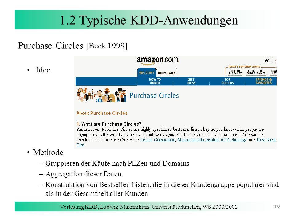 Vorlesung KDD, Ludwig-Maximilians-Universität München, WS 2000/2001 19 1.2 Typische KDD-Anwendungen Purchase Circles [Beck 1999] Idee Methode –Gruppie