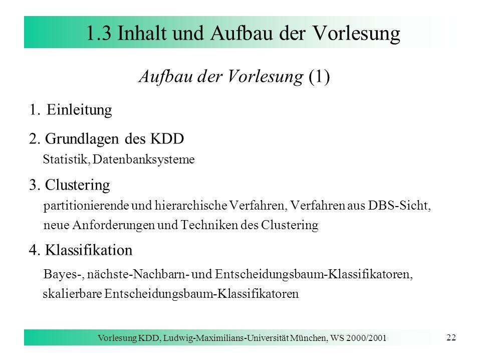 Vorlesung KDD, Ludwig-Maximilians-Universität München, WS 2000/2001 22 1.3 Inhalt und Aufbau der Vorlesung Aufbau der Vorlesung (1) 1. Einleitung 2. G