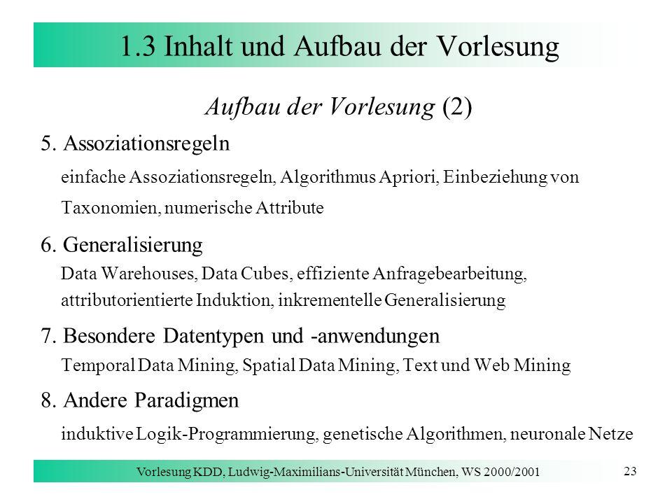 Vorlesung KDD, Ludwig-Maximilians-Universität München, WS 2000/2001 23 1.3 Inhalt und Aufbau der Vorlesung Aufbau der Vorlesung (2) 5. Assoziationsreg