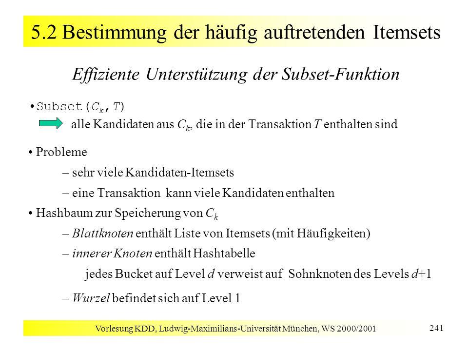Vorlesung KDD, Ludwig-Maximilians-Universität München, WS 2000/2001 241 5.2 Bestimmung der häufig auftretenden Itemsets Effiziente Unterstützung der S