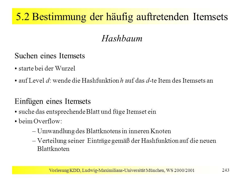 Vorlesung KDD, Ludwig-Maximilians-Universität München, WS 2000/2001 243 5.2 Bestimmung der häufig auftretenden Itemsets Hashbaum Suchen eines Itemsets