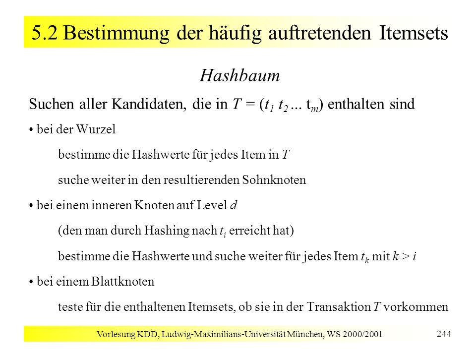 Vorlesung KDD, Ludwig-Maximilians-Universität München, WS 2000/2001 244 5.2 Bestimmung der häufig auftretenden Itemsets Hashbaum Suchen aller Kandidat