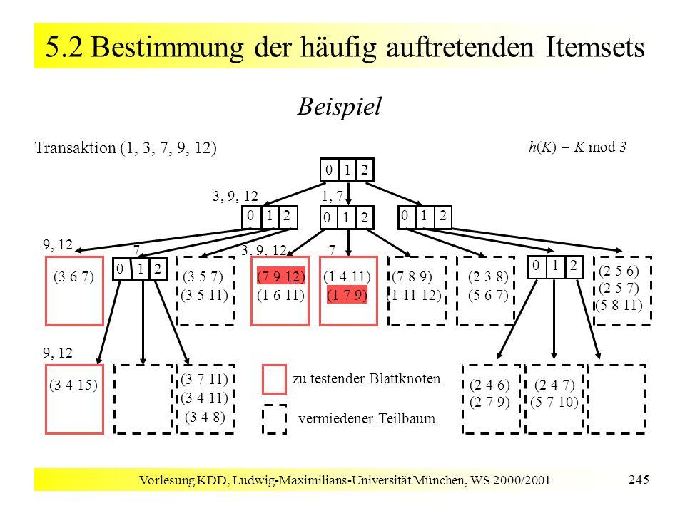 Vorlesung KDD, Ludwig-Maximilians-Universität München, WS 2000/2001 245 5.2 Bestimmung der häufig auftretenden Itemsets Beispiel 012 (3 5 7) (3 5 11)