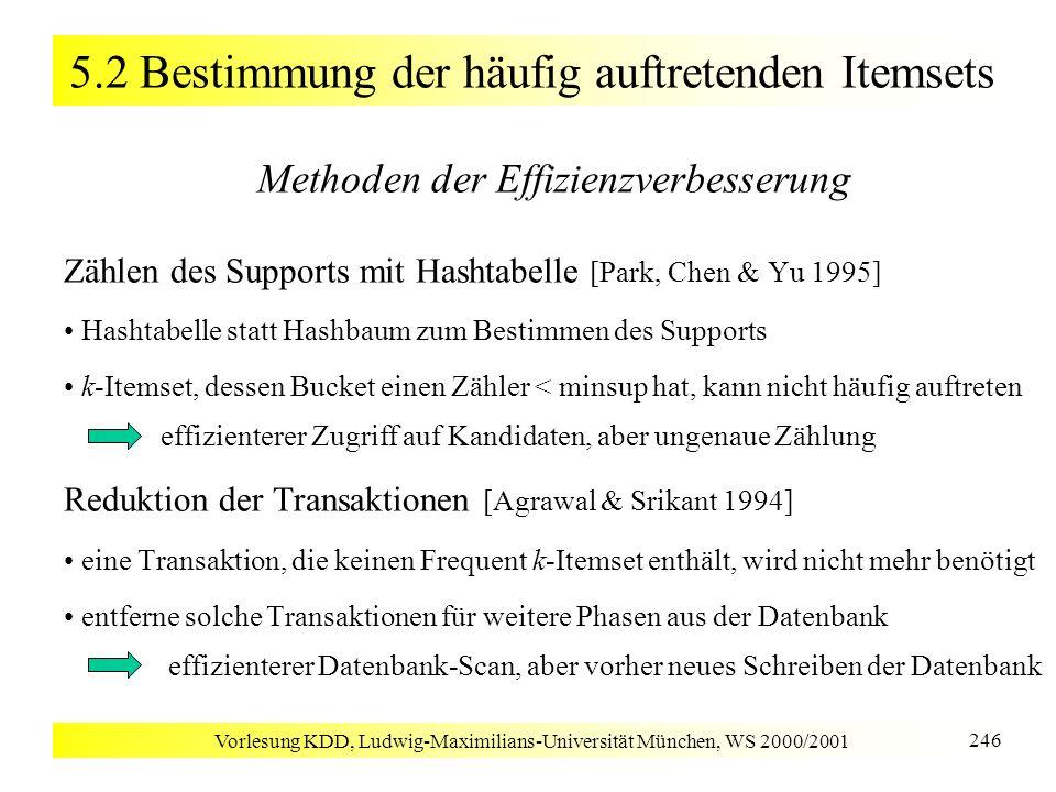 Vorlesung KDD, Ludwig-Maximilians-Universität München, WS 2000/2001 246 5.2 Bestimmung der häufig auftretenden Itemsets Methoden der Effizienzverbesse