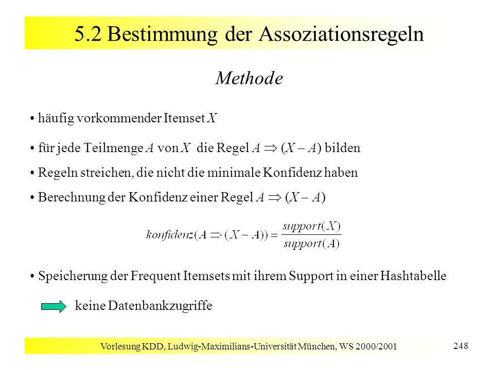 Vorlesung KDD, Ludwig-Maximilians-Universität München, WS 2000/2001 248 5.2 Bestimmung der Assoziationsregeln Methode häufig vorkommender Itemset X fü