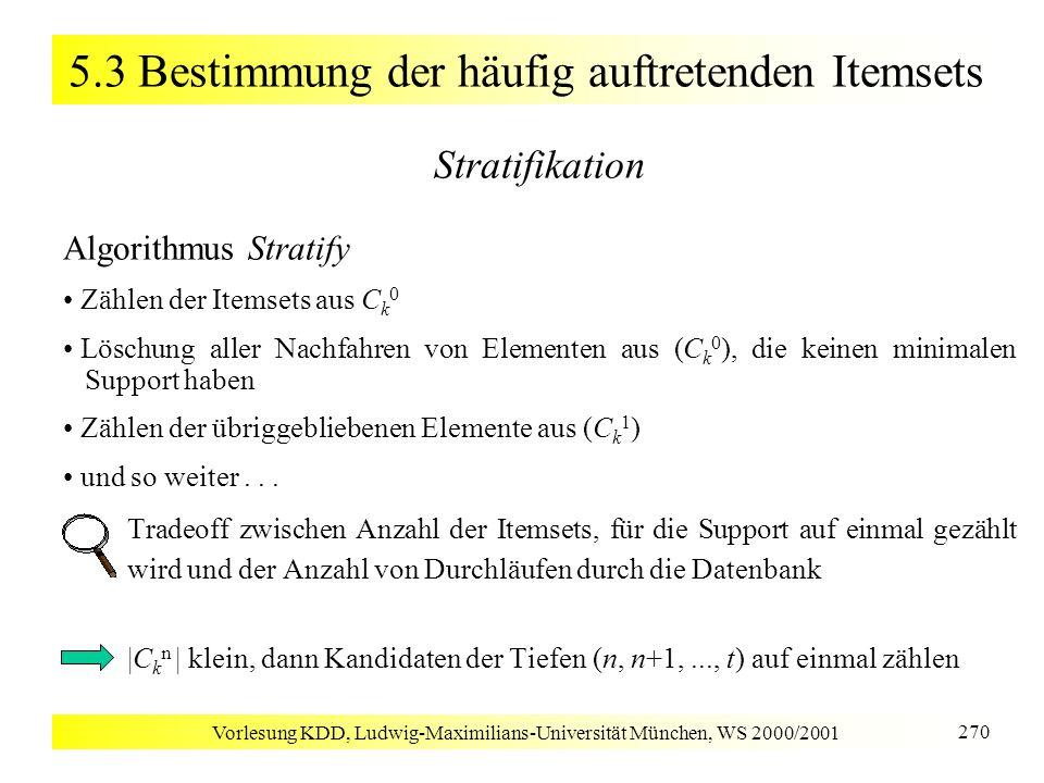 Vorlesung KDD, Ludwig-Maximilians-Universität München, WS 2000/2001 270 5.3 Bestimmung der häufig auftretenden Itemsets Stratifikation Algorithmus Str
