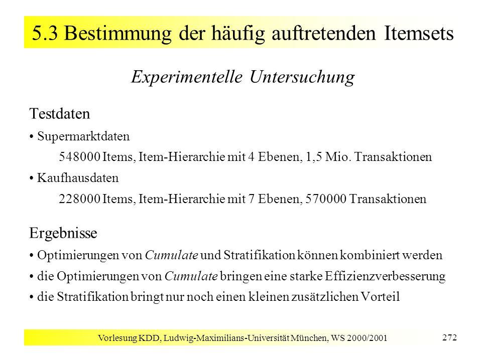 Vorlesung KDD, Ludwig-Maximilians-Universität München, WS 2000/2001 272 5.3 Bestimmung der häufig auftretenden Itemsets Experimentelle Untersuchung Te