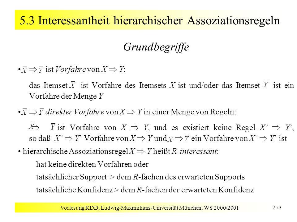 Vorlesung KDD, Ludwig-Maximilians-Universität München, WS 2000/2001 273 5.3 Interessantheit hierarchischer Assoziationsregeln Grundbegriffe ist Vorfah