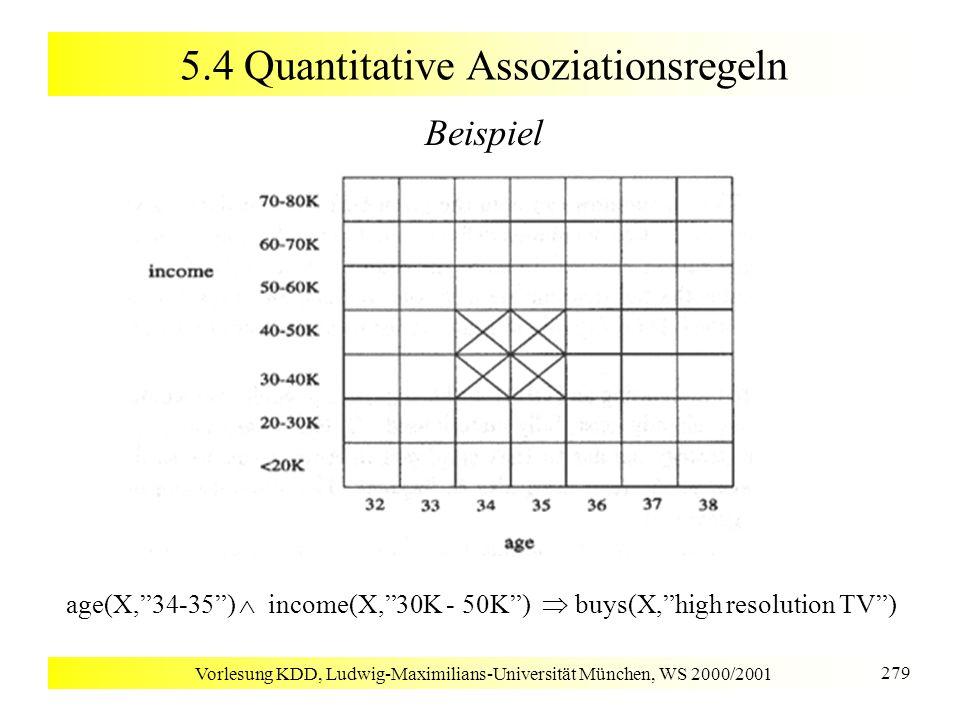 Vorlesung KDD, Ludwig-Maximilians-Universität München, WS 2000/2001 279 5.4 Quantitative Assoziationsregeln Beispiel age(X,34-35) income(X,30K - 50K)