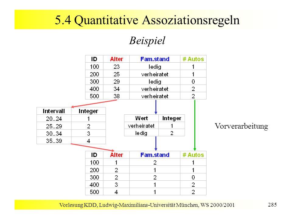 Vorlesung KDD, Ludwig-Maximilians-Universität München, WS 2000/2001 285 5.4 Quantitative Assoziationsregeln Beispiel Vorverarbeitung