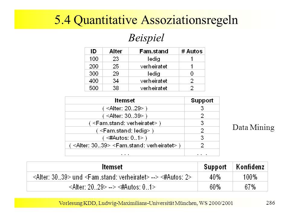 Vorlesung KDD, Ludwig-Maximilians-Universität München, WS 2000/2001 286 5.4 Quantitative Assoziationsregeln Beispiel Data Mining