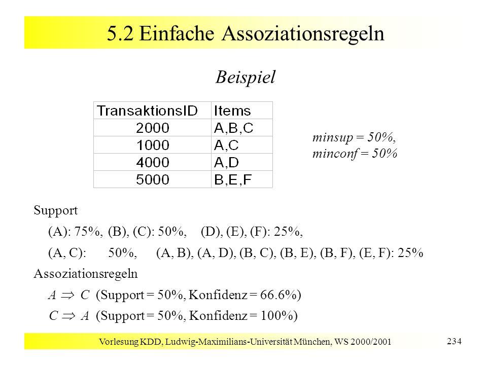 Vorlesung KDD, Ludwig-Maximilians-Universität München, WS 2000/2001 255 5.2 Constraints für Assoziationsregeln Typen von Constraints [Ng, Lakshmanan, Han & Pang 1998] Domain Constraint –S v, {,,,,, }, z.B.