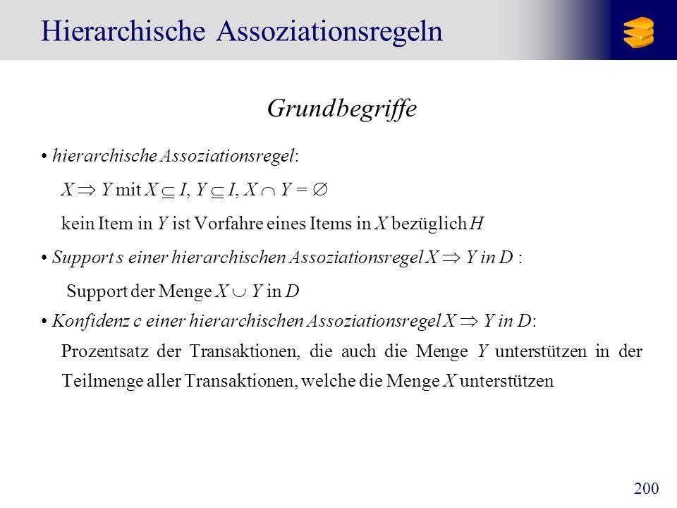 200 Hierarchische Assoziationsregeln Grundbegriffe hierarchische Assoziationsregel: X Y mit X I, Y I, X Y = kein Item in Y ist Vorfahre eines Items in