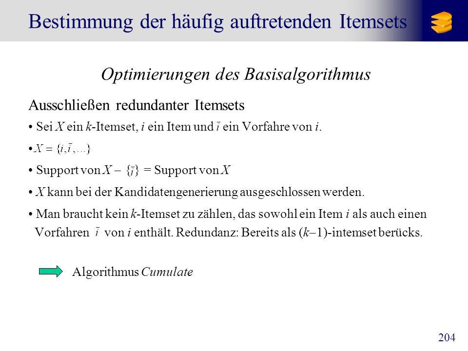 204 Bestimmung der häufig auftretenden Itemsets Optimierungen des Basisalgorithmus Ausschließen redundanter Itemsets Sei X ein k-Itemset, i ein Item u