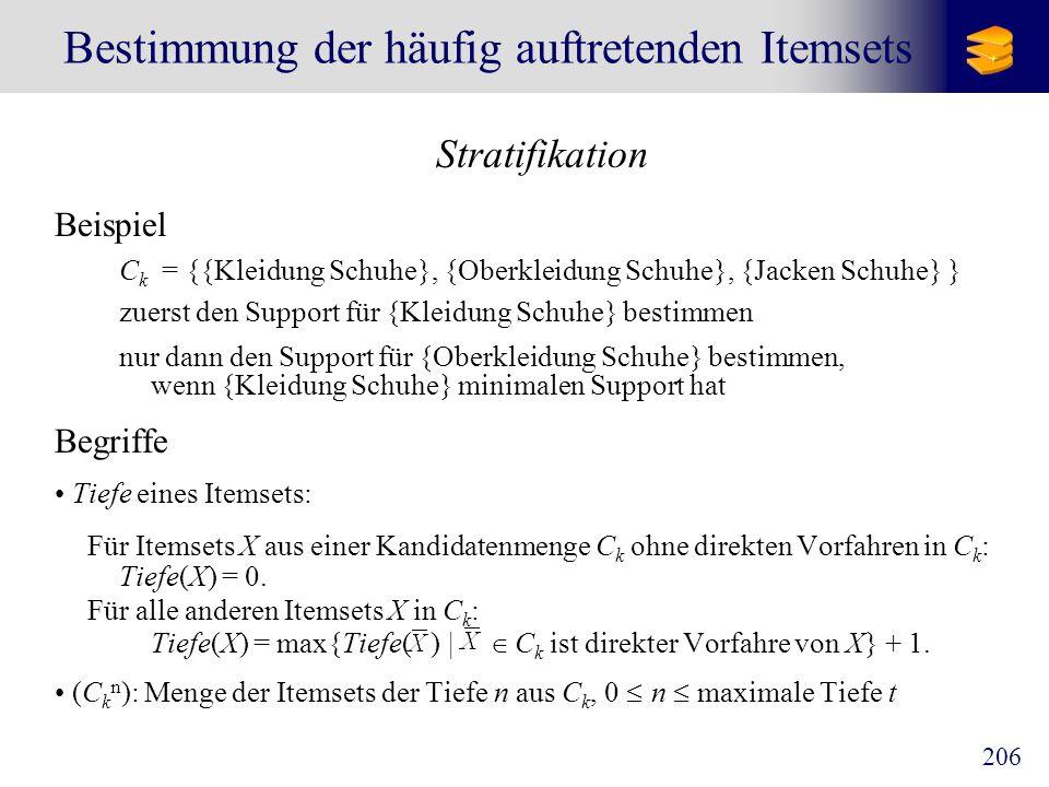 206 Bestimmung der häufig auftretenden Itemsets Stratifikation Beispiel C k = {{Kleidung Schuhe}, {Oberkleidung Schuhe}, {Jacken Schuhe} } zuerst den