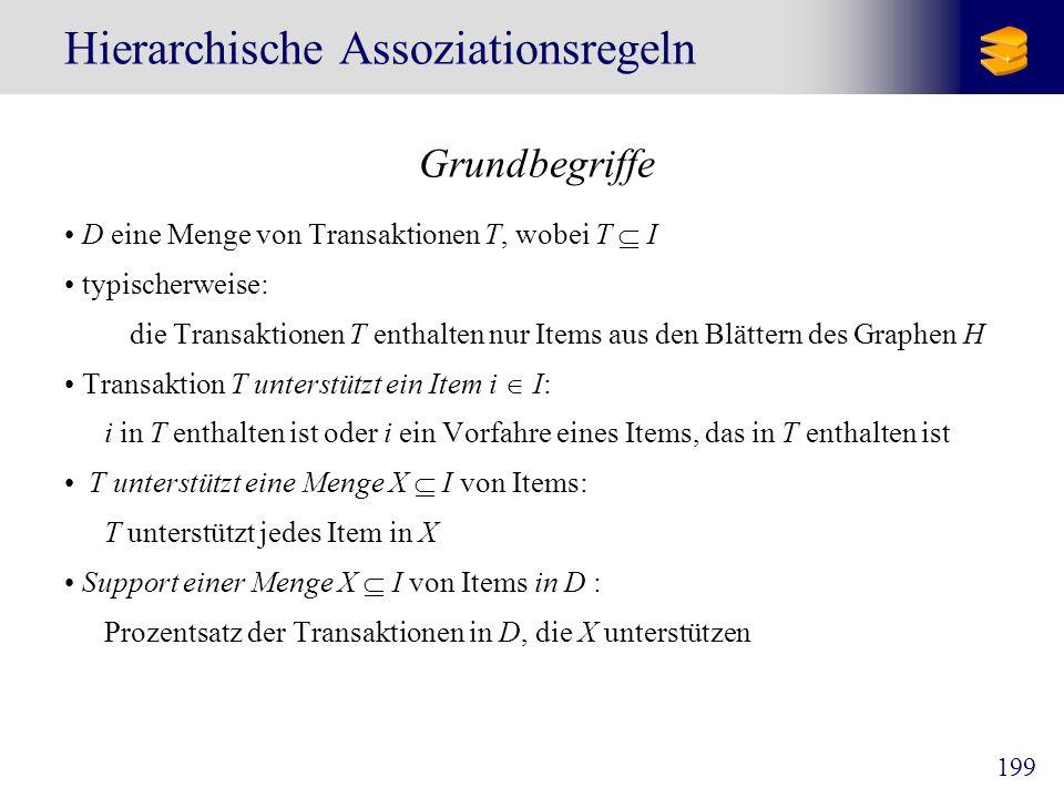 199 Hierarchische Assoziationsregeln Grundbegriffe D eine Menge von Transaktionen T, wobei T I typischerweise: die Transaktionen T enthalten nur Items