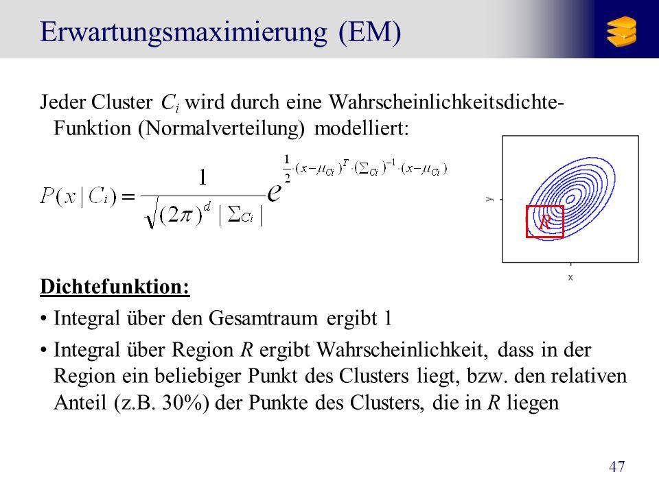 47 Erwartungsmaximierung (EM) Jeder Cluster C i wird durch eine Wahrscheinlichkeitsdichte- Funktion (Normalverteilung) modelliert: Dichtefunktion: Int