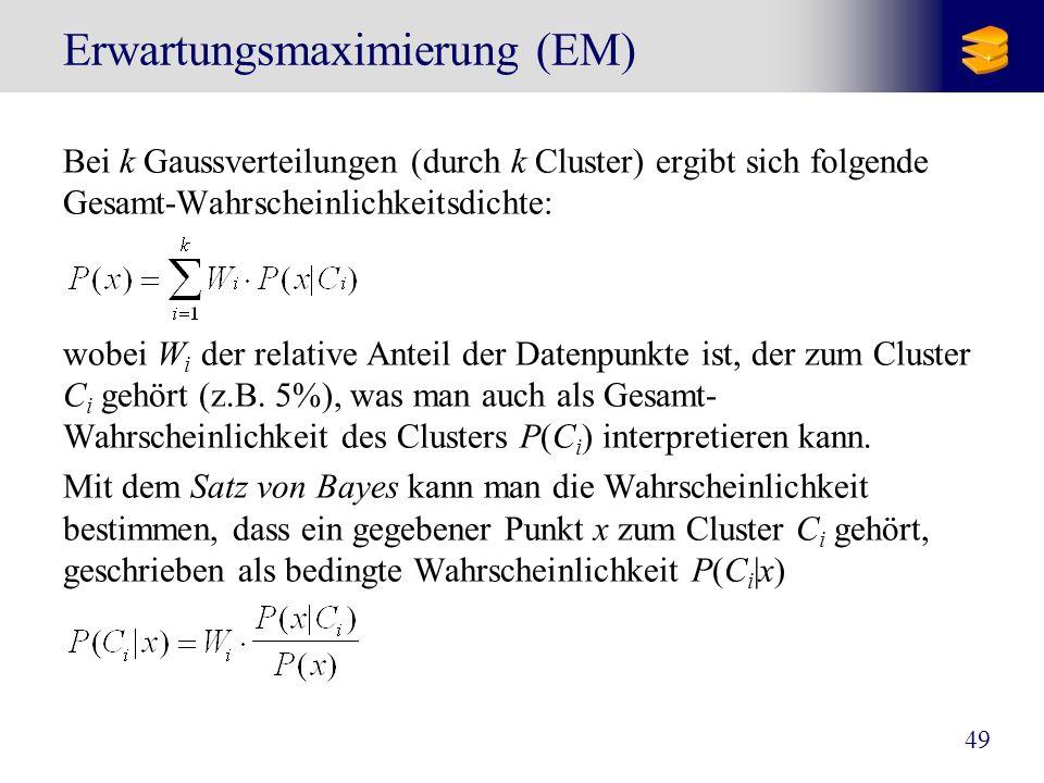 49 Erwartungsmaximierung (EM) Bei k Gaussverteilungen (durch k Cluster) ergibt sich folgende Gesamt-Wahrscheinlichkeitsdichte: wobei W i der relative