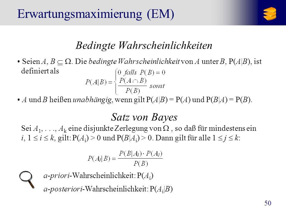 50 Erwartungsmaximierung (EM) Bedingte Wahrscheinlichkeiten Seien A, B. Die bedingte Wahrscheinlichkeit von A unter B, P(A|B), ist definiert als A und