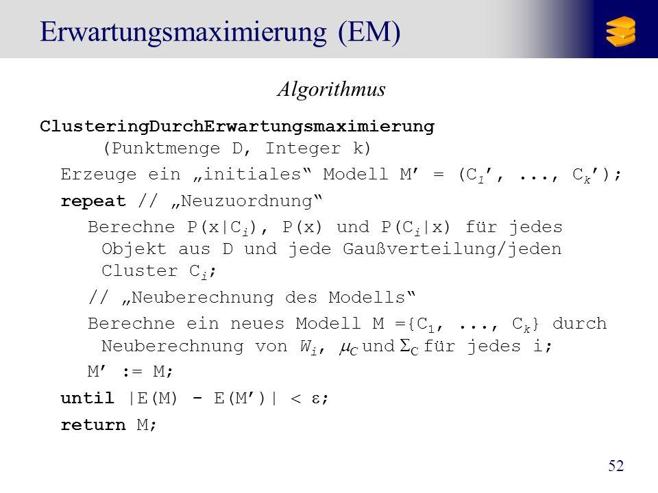 52 Erwartungsmaximierung (EM) Algorithmus ClusteringDurchErwartungsmaximierung (Punktmenge D, Integer k) Erzeuge ein initiales Modell M = (C 1,..., C