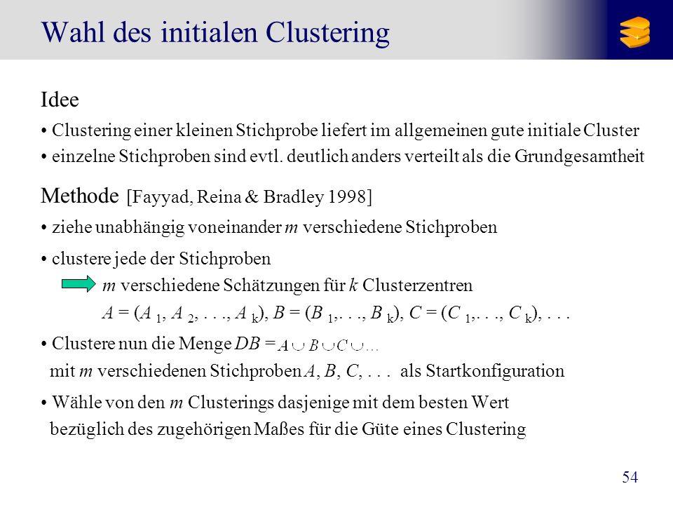 54 Wahl des initialen Clustering Idee Clustering einer kleinen Stichprobe liefert im allgemeinen gute initiale Cluster einzelne Stichproben sind evtl.