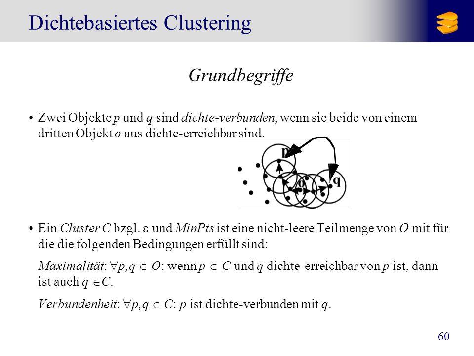 60 Dichtebasiertes Clustering Grundbegriffe Zwei Objekte p und q sind dichte-verbunden, wenn sie beide von einem dritten Objekt o aus dichte-erreichba